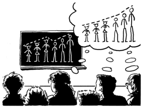 A blackboard  showing stick figures with some of the women taller than some of the men. Stick figures in the thoughts of listeners with all the men taller than all the women.