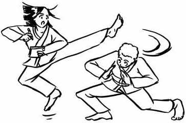 Two people, one doing a karate kick, one ducking.