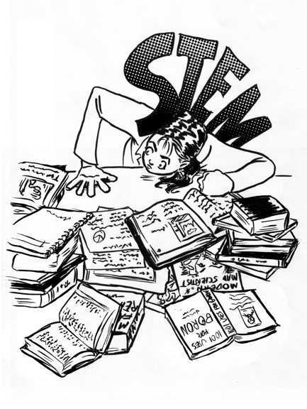 Woman at desk, covered with text books, being weighed down by STEM(Science, Technology, Engineering and Mathematics).