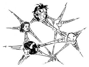 Illustration of women forming a connected network.